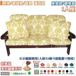Osun-防螨彈性沙發座墊/靠墊套_1人座x2入 多色可選 CE207