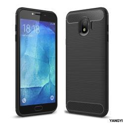 YANGYI揚邑-Samsung Galaxy J4 拉絲紋碳纖維軟殼散熱防震抗摔手機殼-黑