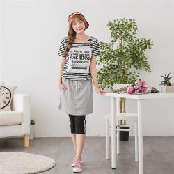 【JimmyWang】 條紋配色灰色貼布綁繩洋裝M-XXL