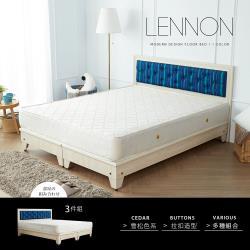 H&D 藍儂田園風海樣風情雙人床組3件式(床頭+床底+床墊)