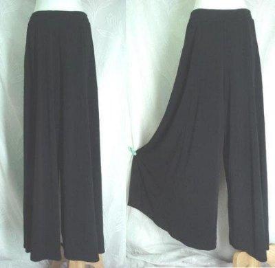 鴨米衣舖大尺碼時尚版黑色大寬筒式褲裙腰圍30-42吋~正韓品~加長加大版~暢銷款