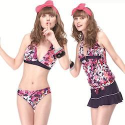 【SAIN SOU】大女比基尼四件式泳裝附泳帽A94403