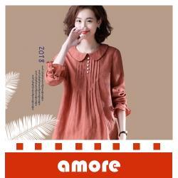 Amore 100%棉文藝大碼新款襯衫女休閒娃娃領寬鬆長袖襯衣