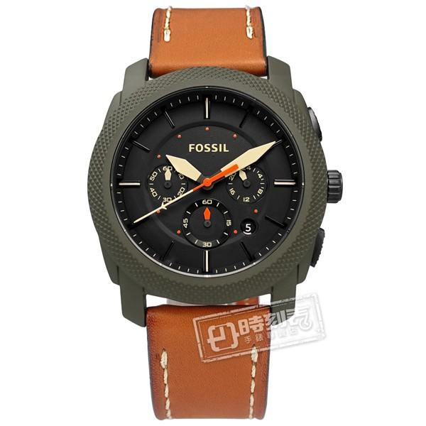 FOSSIL / FS5041 / 霸氣軍事 礦石強化玻璃 計時 日期 日本機芯 真皮手錶 黑x灰綠框x咖啡 45mm