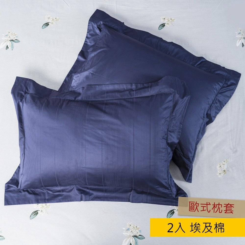 HOLA 義式孟斐斯埃及棉刺繡歐式枕套 2入 藍色
