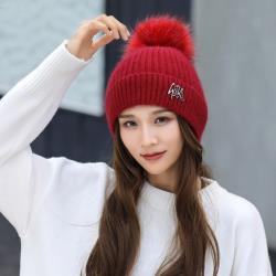 Acorn*橡果-韓系大毛球內絨加厚保暖毛帽1814(紅色)