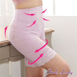 【PINK LADY】交叉強化平腹纖腰 刺繡蕾絲 塑身褲 塑褲5085(粉紫)