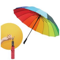 16骨彩虹長柄傘/超大晴雨兩傘 加送三折自動傘
