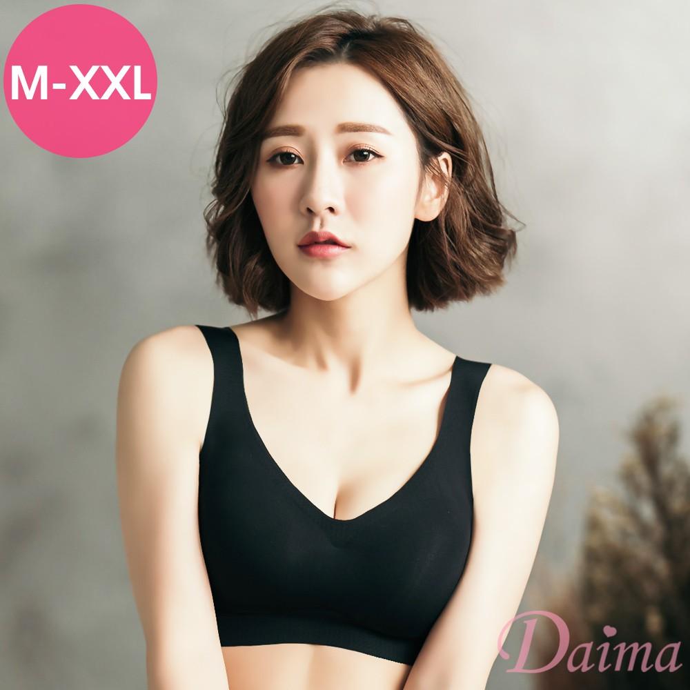 【黛瑪Daima】M~XXL肌膚深層呼吸~透氣親膚無痕無鋼圈內衣 黑 7628