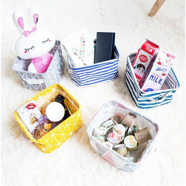 【現貨】零食收納盒 雜物收納籃 垃圾桶 桌面收納 創意棉麻收納筐 置物籃