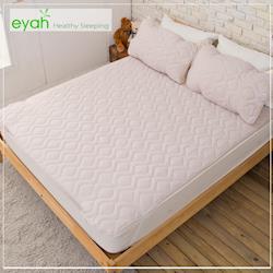 eyah宜雅 台灣製純色加厚舖綿保潔墊平單式雙人3入組(含枕墊*2)-紳士灰-新