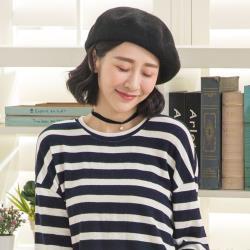 imaco 韓版百搭純色畫家帽(黑)
