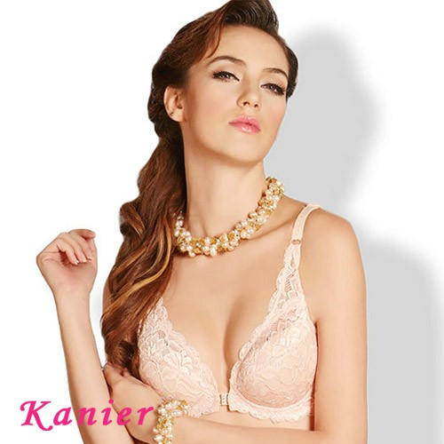【Kanier卡妮兒】舒適低脊心全蕾絲前扣式胸罩(膚 / 柑_B)