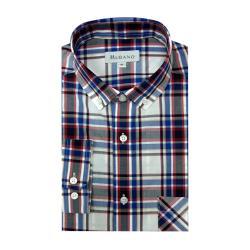 [MURANO]英倫個性長袖襯衫-藍灰紅格