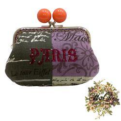 【HaLace創意手工拼布包】柿子橙巴黎糖果零錢包