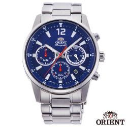 ORIENT東方錶 敏銳時計夜光三眼計時石英男錶-藍面x41.5mm  RA-KV0002L10B