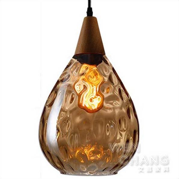 北歐極簡風 水滴玻璃吊燈 水波紋玻璃內面 大款 玻璃 X 木頭 材質混搭風 LC-094 文昌家具
