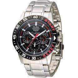 ALBA 奔放自由計時運動腕錶 VD53-X239D AT3967X1 黑x紅