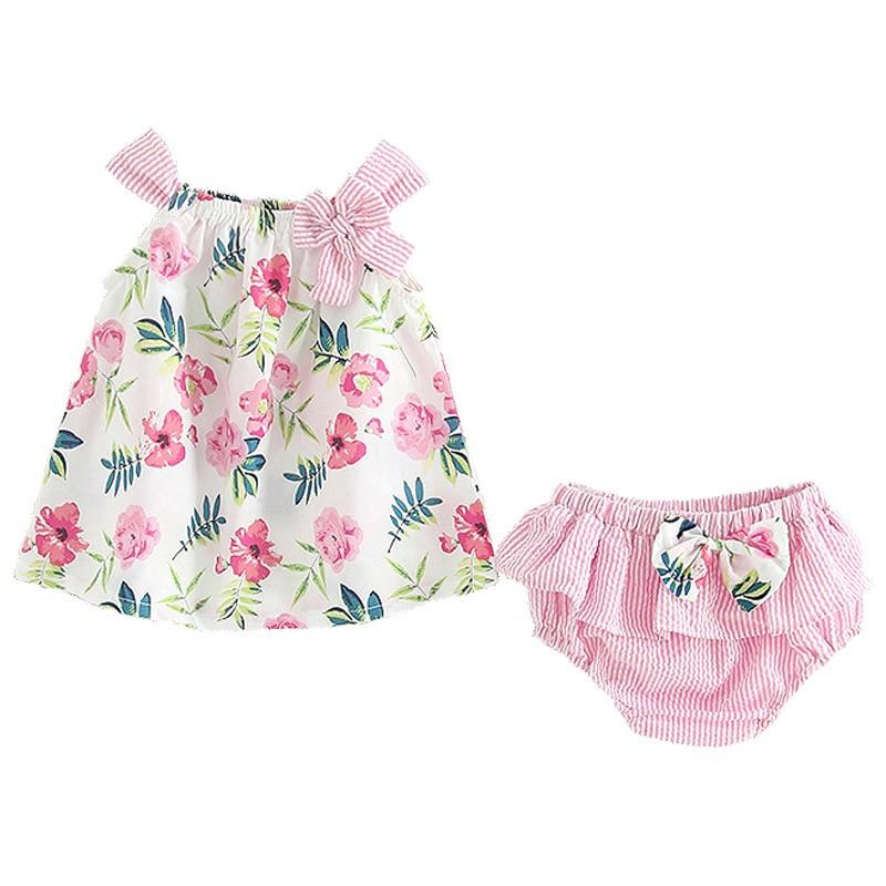 6個月-3歲嬰兒夏季上衣女寶寶花朵蝴蝶結吊帶上衣+PP褲套裝