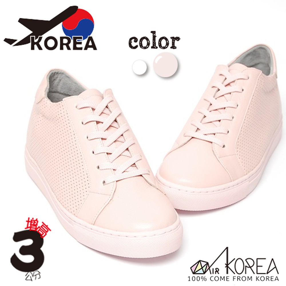 【AIRKOREA】韓國空運質感真皮革透氣休閒基本款增高鞋隱形增高3公分 粉 -現貨+預購(5982-0021)