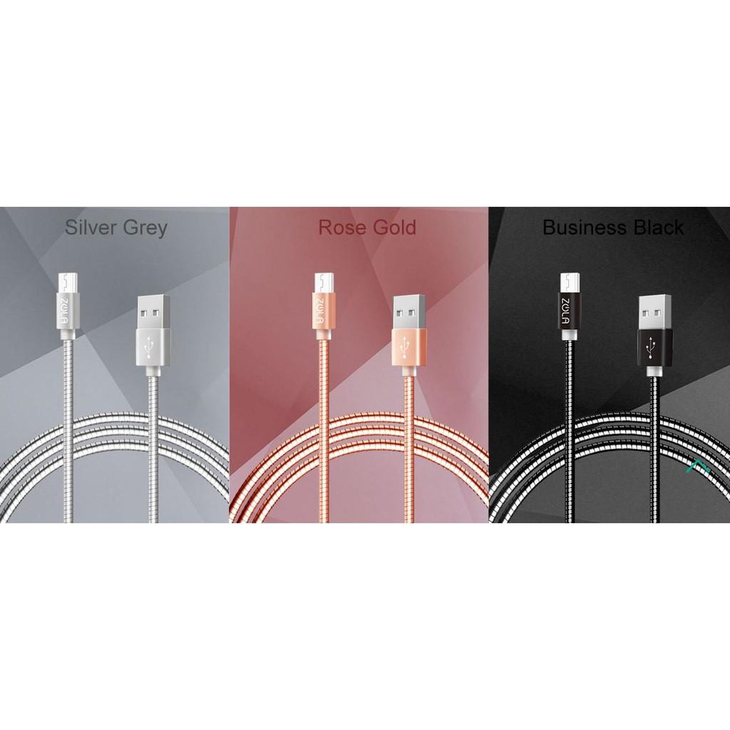 ZOLA Zpiral Micro USB不鏽鋼金屬傳輸線充電線 (1M) 安卓 2.1A快速充電