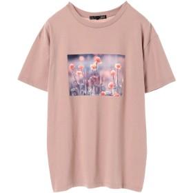 グリーンパークス Green Parks フラワーフォトptTシャツ (Pink)