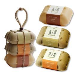 手工糠皂-梔子花、軟木樹花、黃香木 120g 外盒3入組