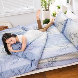 eyah宜雅 全程台灣製100%頂級精梳棉新式兩用被單人床包被套四件組-與你在夢里相遇-海洋藍