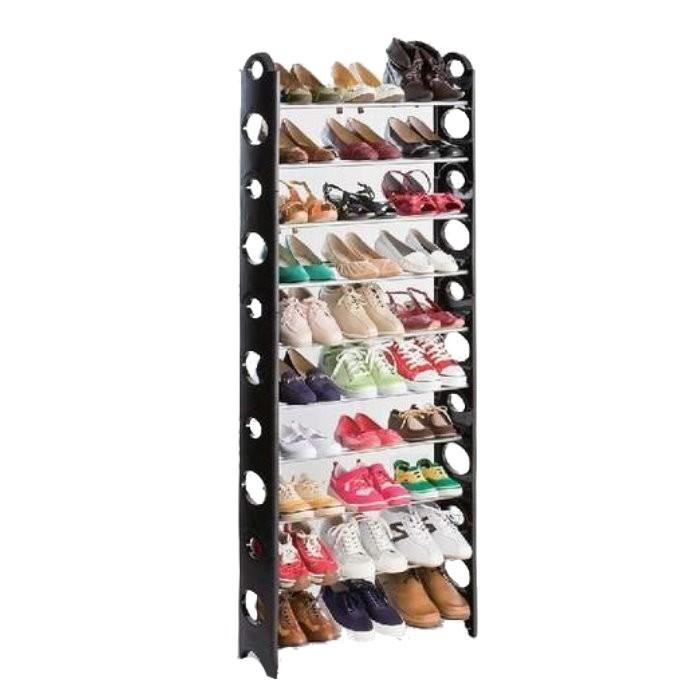 日式大容量DIY豪華型十層鞋架 組合鞋架 10層鞋櫃 可分層 可調整 可放馬靴(送防塵套)(限宅)【GK375】