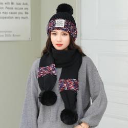 Acorn*橡果-韓系撞色針織加絨毛帽+圍巾1818(兩件組-黑色)