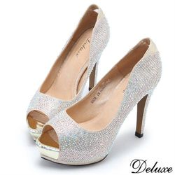 【Deluxe】全真皮華麗水鑽閃耀亮皮魚口高跟鞋(金)-8836-6