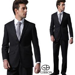 GIBBON 輕光澤星紋毛料成套西裝/打摺褲‧黑色