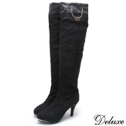 【Deluxe】狂野虎紋掛鍊防水台高跟彈力布長靴(黑)-1828-81