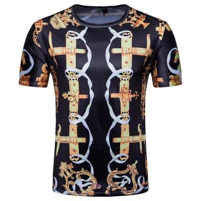 『X-男人館』 N6 跨境專供男士3D印花短袖T恤 休閒撞色T恤 歐美風皇家印花圖案T恤NRG528
