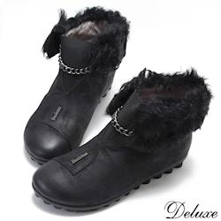【Deluxe】俏皮邱比特反折羔羊毛仿舊皮革短筒精靈靴(黑)-318-27