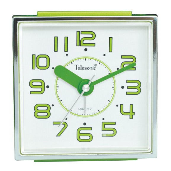 Telesonic/天王星鐘錶 彩色現代鬧鐘綠色 靜音機芯 貪睡功能