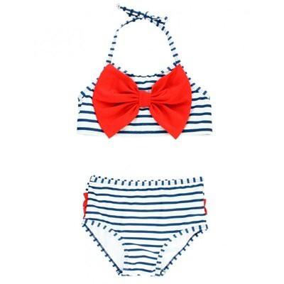 【美國RuffleButts】兩件式泳裝- 海軍藍條紋大蝴蝶結 SWSNWXX-2PBW