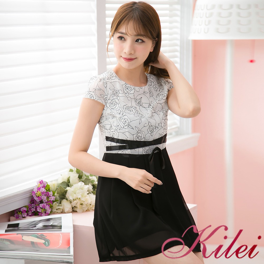 【Kilei】小包袖雪紡玫瑰樣撞色微抓折裙襬洋裝XA3822(雅緻黑)全尺碼