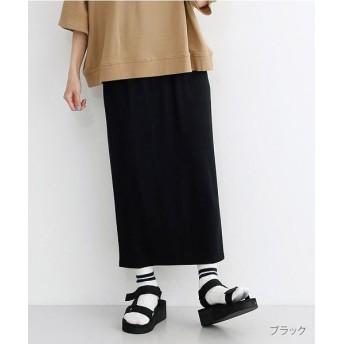 メルロー 杢調ワイドリブナロースカート レディース ブラック FREE 【merlot】