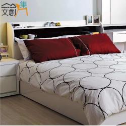 文創集-墨爾本 時尚白5尺雙人床頭箱-附便利插座+不含床底&床墊