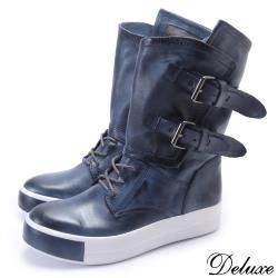 【Deluxe】全真皮帥氣質感擦色拉鍊厚底中筒靴長靴(藍)