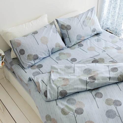 絲薇諾 精梳棉床包薄被套組/(雙人/加大)(小森之樹-藍色)四件組/台灣製