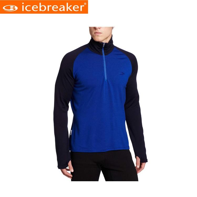 【Icebreaker 男 半開襟長袖上衣《寶藍》】IBF165/抗臭/羊毛衣/保暖/中層衣/悠遊山水