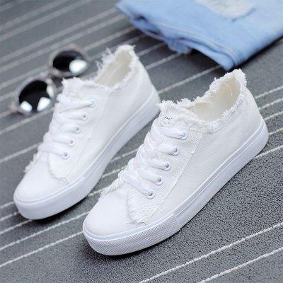 【非凡尚品】韓版白色帆布鞋女夏平跟系帶小白鞋學生平底百搭布鞋透氣系帶板鞋