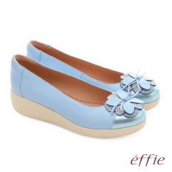 effie 輕漾漫步 真皮花朵奈米休閒鞋- 淺藍