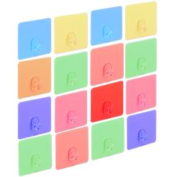 歐奇納 OHKINA 隨手貼系列_繽紛馬卡龍方形重複貼掛勾x16入裝(6.8x6.8cm)