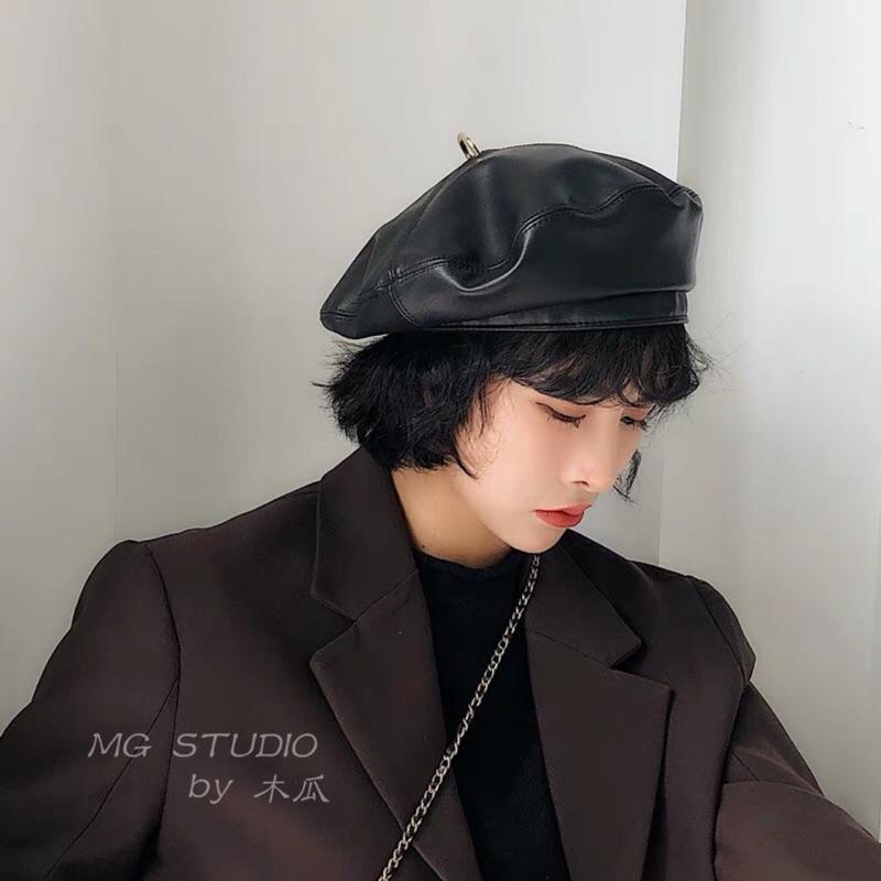 木瓜製品/ 百搭時髦pu皮圓環貝雷帽子秋冬復古素色蓓蕾帽南瓜畫家帽男女潮