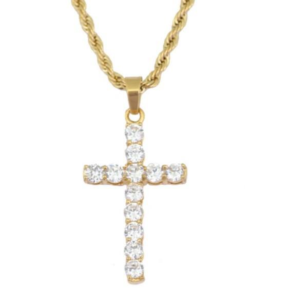 男女麻花滿鑽 嘻哈仿黃金 小十字架項鍊 基督教