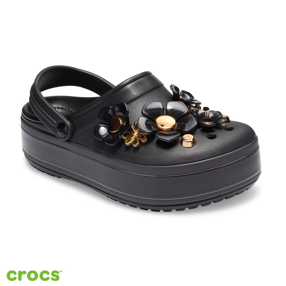 Crocs卡駱馳 (中性鞋) 金屬花朵厚底卡駱班-205700-001