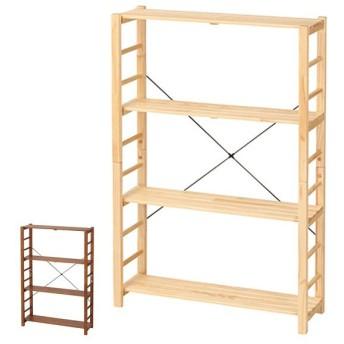 フリーラック 薄型 収納棚 オープンラック 4段 天然木 幅78cm ( ラック シェルフ 収納棚 収納ラック )